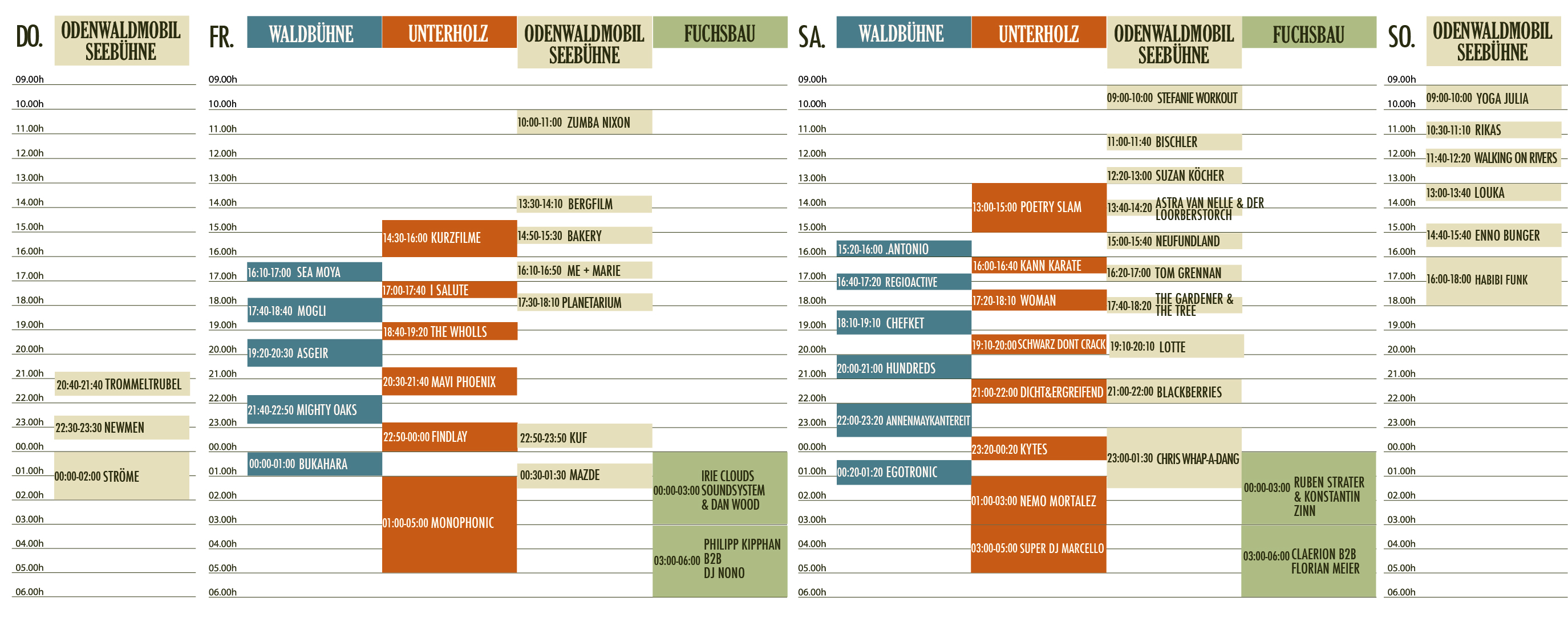 Timetable 2017